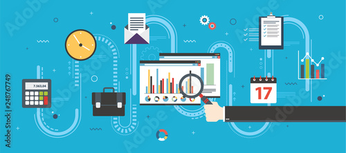 Financial strategy, report with investment data, charts of growth on website screen in internet browser. Finance, business and investment icons, chart and data. Flat design vector illustration.