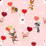 Cute animal hold the heart balloons seamless pattern. Deer, squirrel, fox, pig, racoon and rabbit cartoon character. Happy Valentine's Day background.