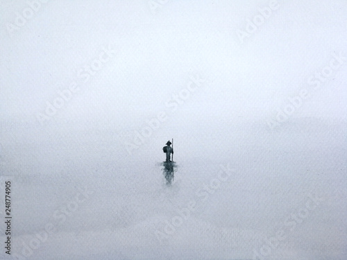 watercolor traditional silhouette landscape the man walking alone man through misty fog. © atichat