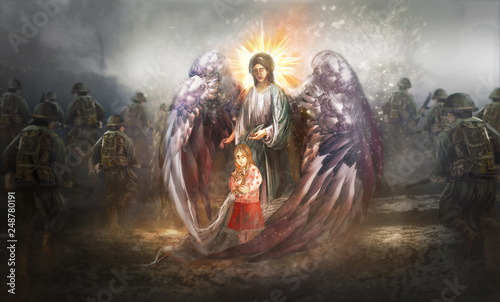 Angel protecting child in warzone © vukkostic