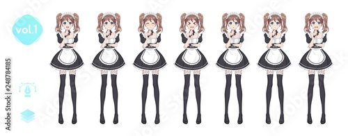 Anime manga girl. Costume of maid cafe - 248784185