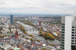 Panoramic view from observation point from Main Tower to Frankfurt and suburbans, Germany