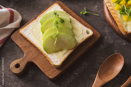 Healthy food for diet as bread fruit and vegetables