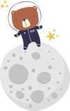 cute bear in astronaut suit walking on the moon isolated on white. drawn style illustration. can be used for nursery decoration, design for baby and kids