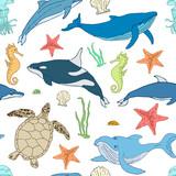 Seamless pattern of cartoon sea animals