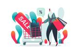 Muslim Women Shopping activity. Flat illustration