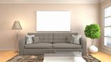 mock up poster frame in interior background. 3D Illustration - 248805159