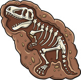 Cartoon T-rex dinosaur fossil - 248808917