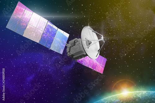 Industrial illustration of cosmic satellite with huge solar power panels - 3D Illustration