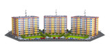 Modern European residential complex. Isolated on white background. 3d illustration - 248813177
