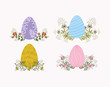 set of eggs painted and flowers easter icons
