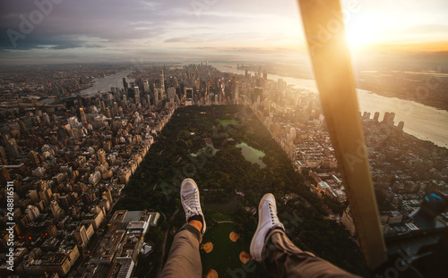 Foto Murales New york and Manhattan view from the helicopter