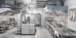 Leinwanddruck Bild - Industrial kitchen. Restaurant kitchen. 3d illustration