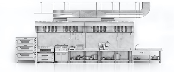 Industrial kitchen. Restaurant kitchen on a white backgrount. 3d illustration © sveta