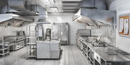 Leinwanddruck Bild Industrial kitchen. Restaurant kitchen. 3d illustration
