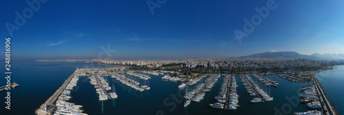 Aerial drone photo of famous marina of Alimos with yachts and sailboats docked, Athens riviera, Attica, Greece - 248816906