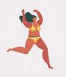 Happy plus size woman run