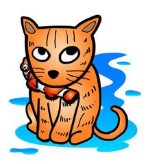 Hand drawn orange Cat bite clownfish with water on ground