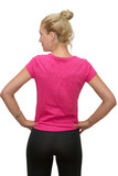 back view of a beautiful blonde girl with a pink t-shirt on white
