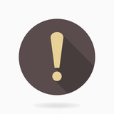 Golden vector exclamation flat icon in the brown circle. Flat design and long shadow - 248823994