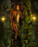 Magical Elemental Earth Fairy in her Hollow Tree Home