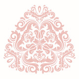 Elegant vintage vector triangular pink ornament in classic style. Abstract traditional pattern with oriental elements. Classic vintage pattern - 248825153