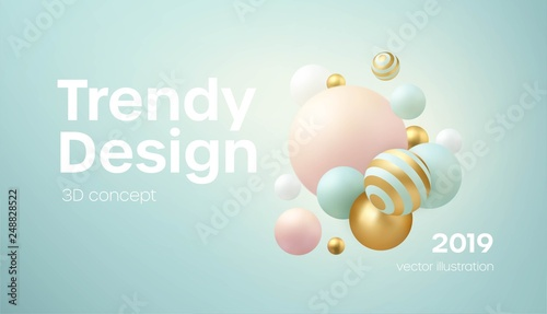 Flowing soft spheres. Abstract background with 3d geometric shapes. Modern cover design. Vector realistic illustration © vik_y
