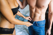 Leinwanddruck Bild - Young sexy hot couple in love hugging and kissing