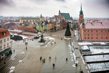 Overhead view of Warsaw old town with Royal Castle and Sigismund Column
