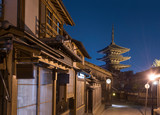 Night scene of old street in historical city Kyoto, Japan