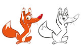 Vector Illustration of a Cute Cartoon Character Red Fox for you Design and Computer Game. Coloring Book Outline