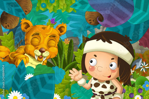 cartoon scene with caveman barbarian warrior with spear encountering sabre tooth illustration for children - 248844954