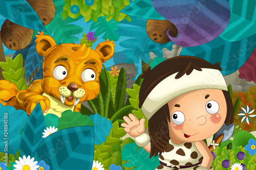 cartoon scene with caveman barbarian warrior with spear encountering sabre tooth illustration for children - 248845186