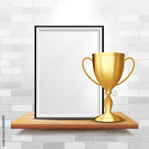 Certificate Diploma With Golden Cup Vector  Achievement Design  Best