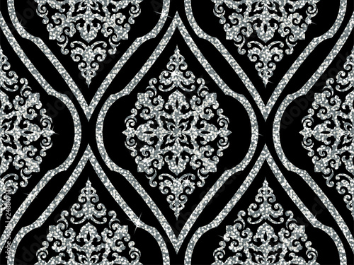Seamless vector pattern. Traditional asian ornamental motive. Seamless background from a oriental silver ornament, fashionable modern wallpaper or textile. Elegant luxury tiled design.