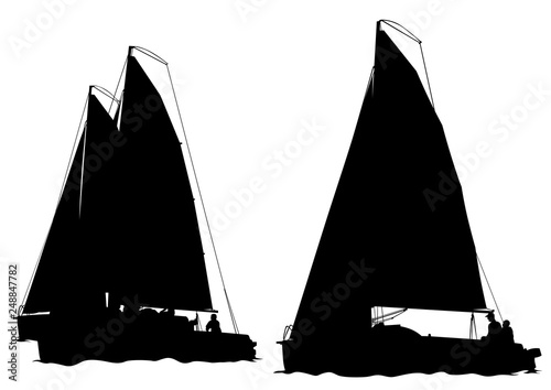 Vintage sailboat in the sea on a white background