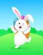 Cute cartoon white rabbit with backpack of Easter eggs.  Eggs hunt,  Happy Easter day.  Cartoon character design. Illustration. - 248849107