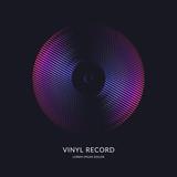 Vinyl record. Illustration music on dark background.