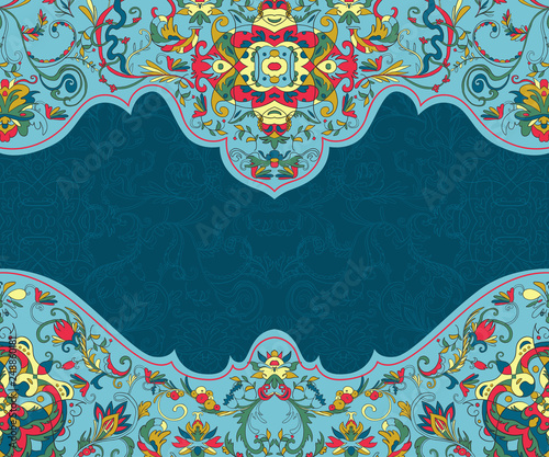 Arabesque. Beautiful background with border with Arabibic ornament. Floral design template for invitation, greeting card, wallpaper, background, print. Vector illustration