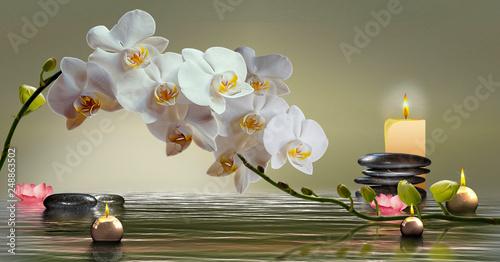 canvas print picture Wandbild mit Orchideen, Steinen im Wasser und schwimmenden Kerzen