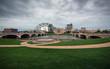 Simon Estes Riverfront Amphitheater, Des Moines, Iowa on a stormy day