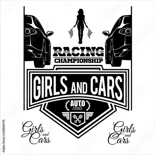 Girls and cars - rstreet racing emblem - black vector illustration isolated on white