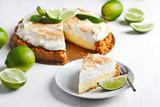 Key Lime Pie. Citrus pie with meringue