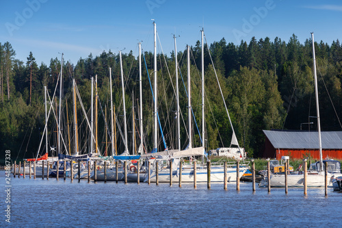 Yachts are moored in marina of Porvoo