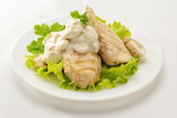 Fried chicken breast with cream sauce and mushrooms on a white plate. White background - 248873968
