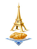 Vector eiffel tower french croissant at dish set