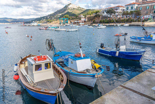 Fishing Boats in a Port on the Southern Italian Coast