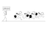 Cartoon stick figure conceptual drawing of group of businessmen in suits and briefcases running in panic away from man with crisis sign. - 248879111
