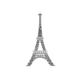 The Eiffel Tower hand drawn vector illustration on white background. Cute Paris architecture symbol. Travel french icon