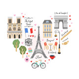 Paris city travel illustrations. France vector symbols and icons: architecture, cafe, bicycle, french food